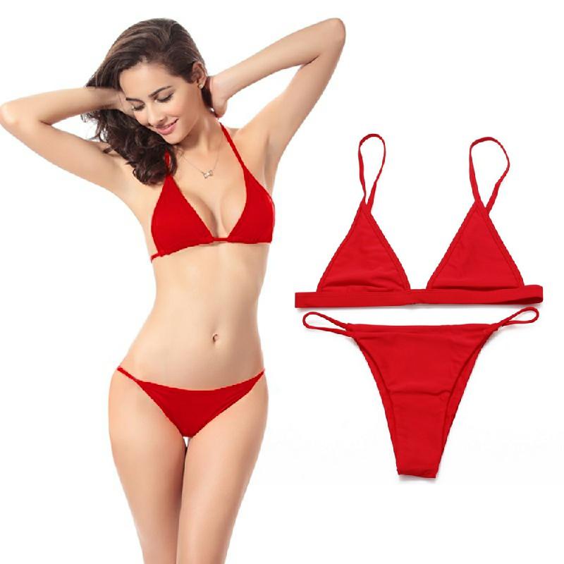 Women Elegant Skimpy Sexy Brazilian Bikini Set Beach Bathing Suit Size M - Red