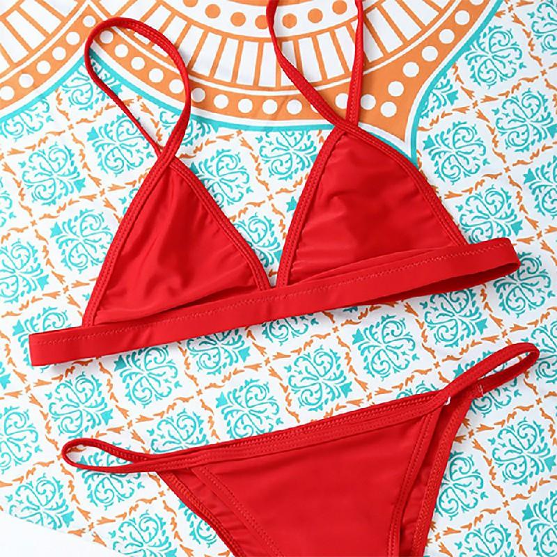Women Elegant Skimpy Sexy Brazilian Bikini Set Beach Bathing Suit Size L - Red