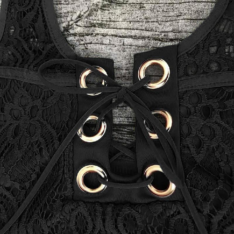 Lace Bra Triangle Bikini Sets Bandage Black S