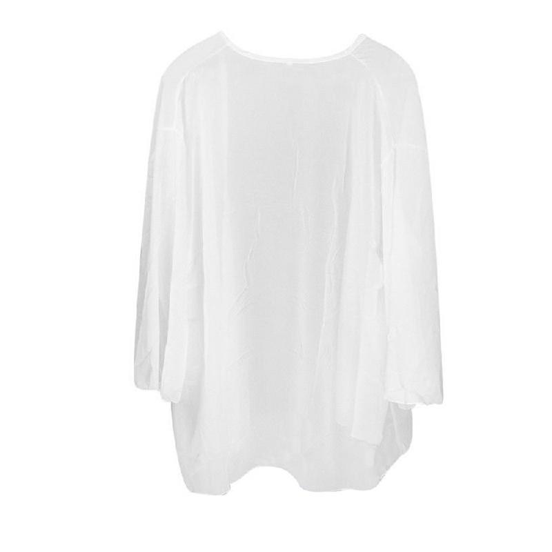 Women Chiffon Open Cardigan Top White M
