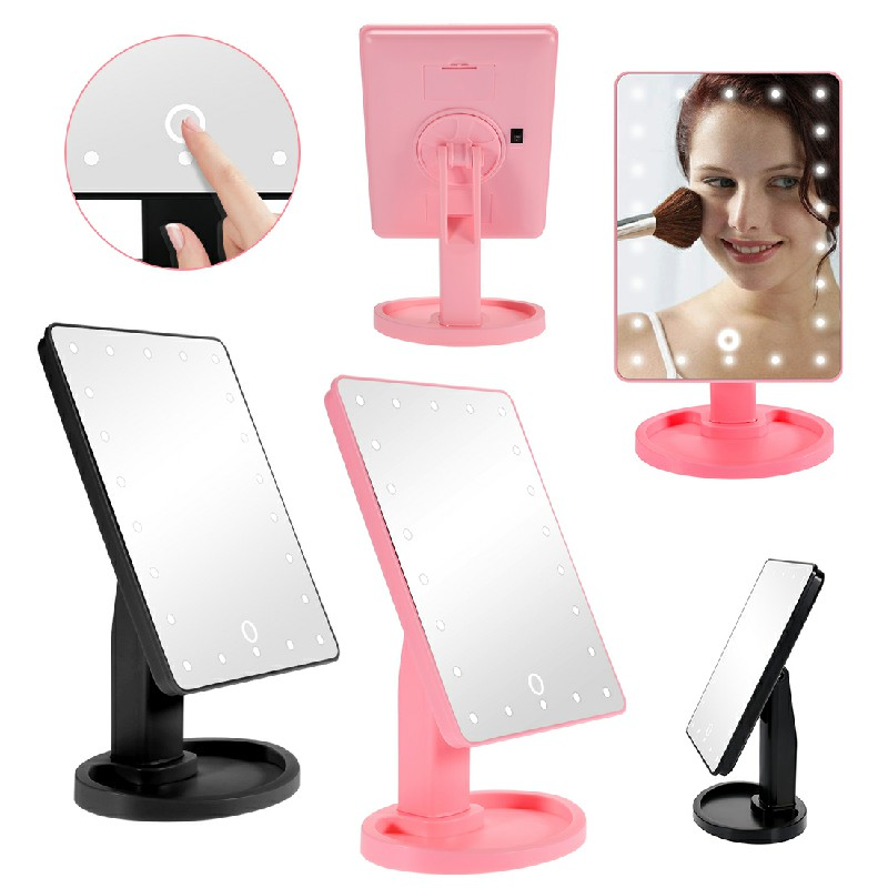 22 LED Touch Screen Makeup Mirror Tabletop Cosmetic Vanity Light Up Mirror - Pink