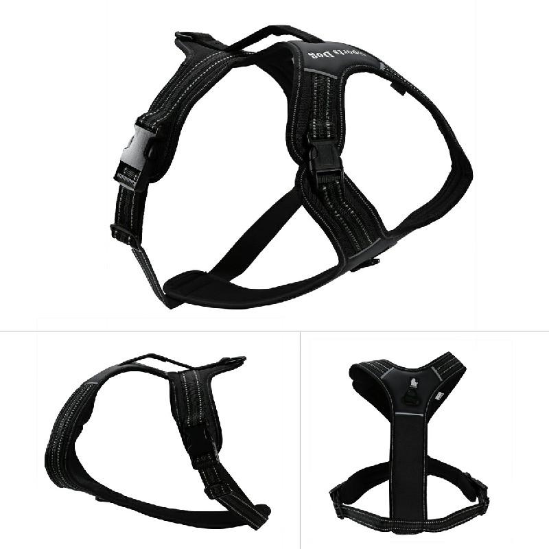 Pet Dog Adjustable Chest Belt Safety Harness Travel Strap Vest Size M - Black
