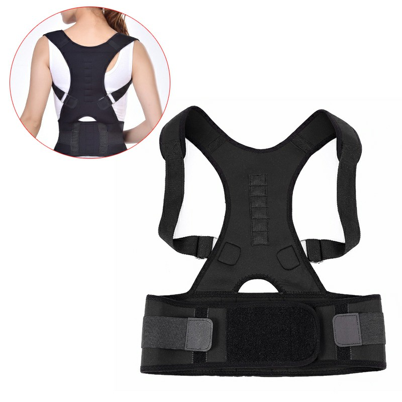 Size S Magnetic Posture Support Back Shoulder Corrector Therapy Brace Belt - Black