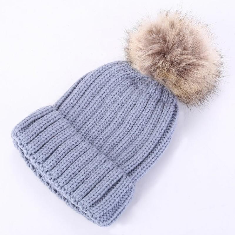 Warm Winter Wool Knit Beanie Pom Bobble Hat Cap - Gray