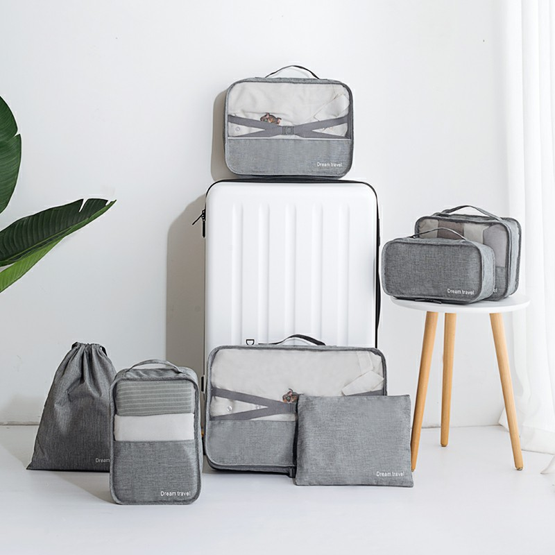 Savisto Packing Cubes 7pcs/Set Luggage Organiser Travel Compression Suitcase Bags - Grey