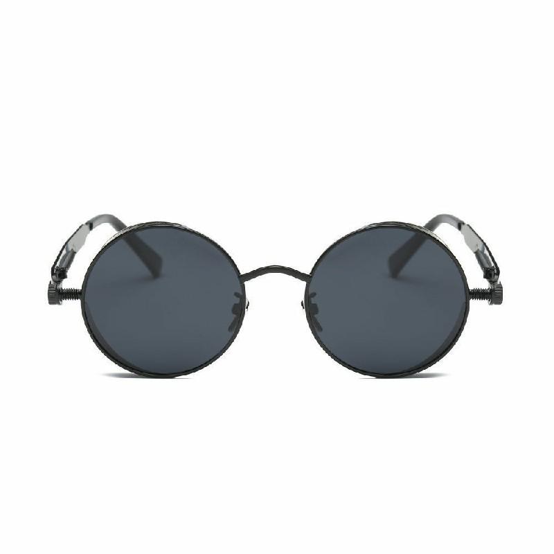 Vintage Polarized Steampunk Sunglasses Mens Round UV400 Sun Driving Glasses