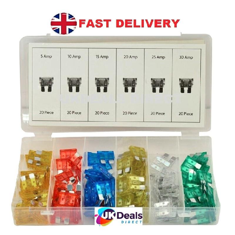 120 pcs 5-30 A Mini Car Blade Fuse Box Set Quality Assorted Van Truck Fuses - M