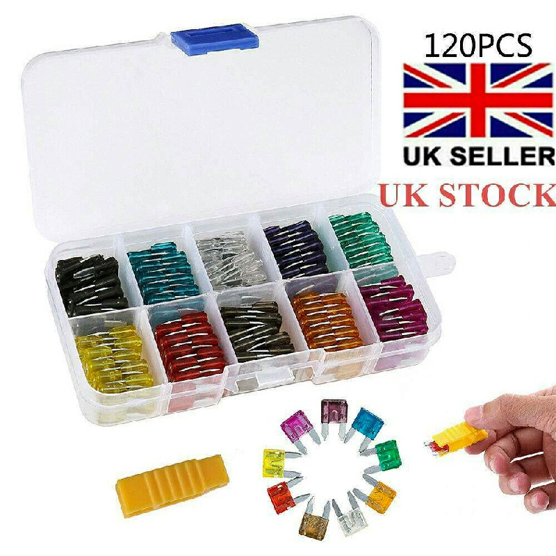 120 pcs 2-35 A Mini Car Blade Fuse Box Set Quality Assorted Van Truck Fuses - S