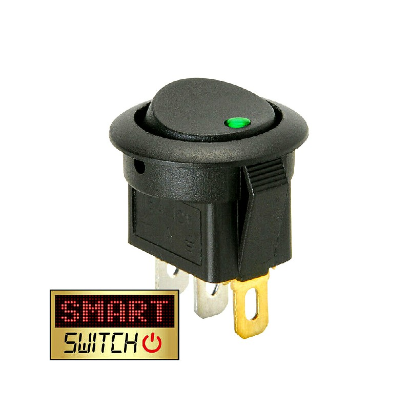 5 pcs ON/OFF Round Rocker Switch LED illuminated Car Dashboard Dash Boat Van 20A 12V - Green Light