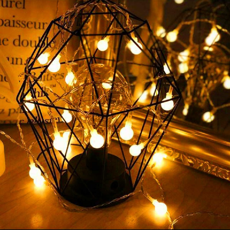 6m 40 LEDs Globe Bulb Ball Fairy String Lights Mains Plug In Garden Outdoor Indoor Xmas - Warm Light