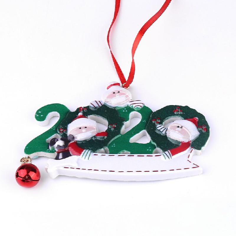 Resin Christmas Tree Ornament 2020 Quarantine Family Xmas Lockdown Decoration DIY name - 3 Heads