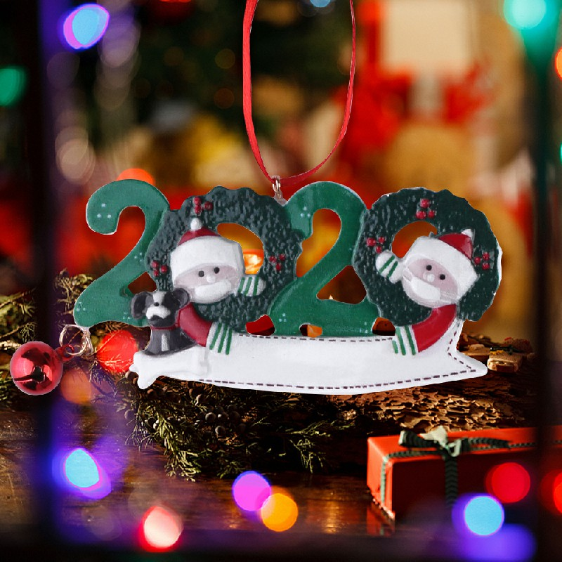 Resin Christmas Tree Ornament 2020 Quarantine Family Xmas Lockdown Decoration DIY name - 2 Heads