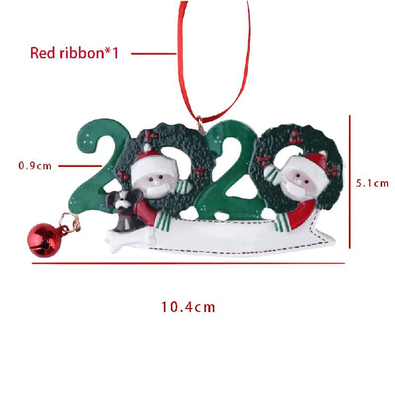 Resin Christmas Tree Ornament 2020 Quarantine Family Xmas Lockdown Decoration DIY name - 2 Heads