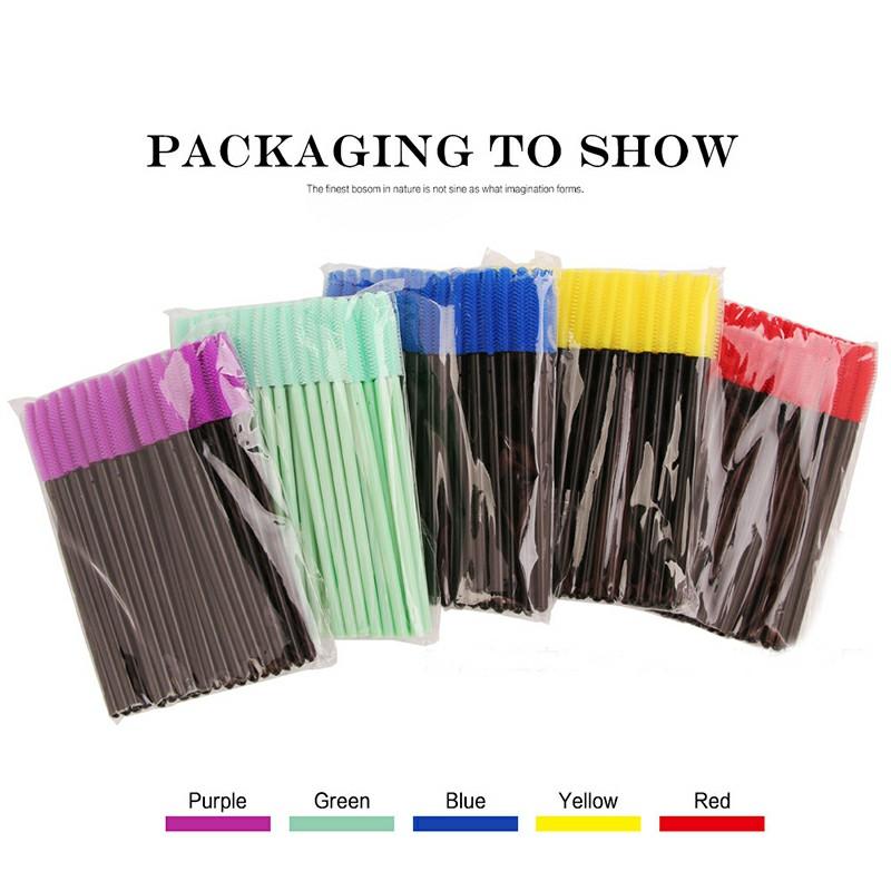 50PCS Disposable Eyelashes Brushes Silicone Wands Lashes Makeup Mascara Brushes - Blue