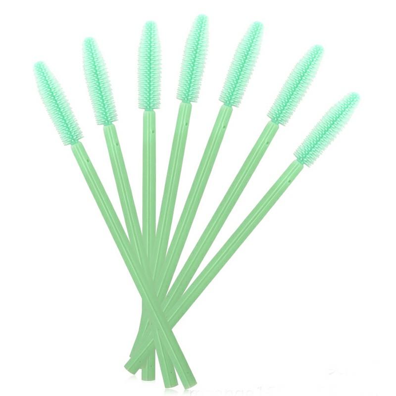 50PCS Disposable Eyelashes Brushes Silicone Wands Lashes Makeup Mascara Brushes - Green