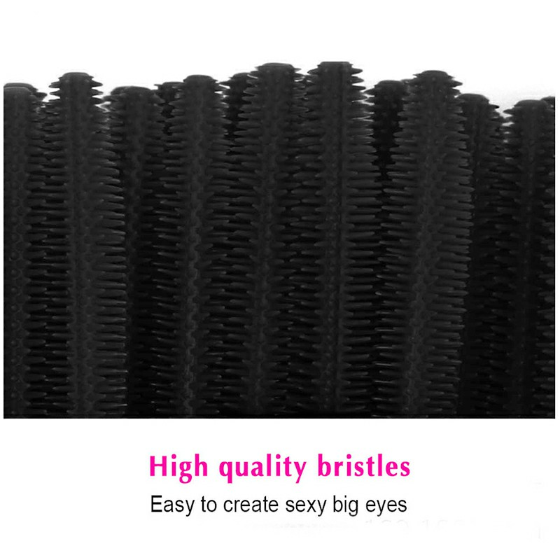 50Pcs Silicone Mascara Brushes Wands Lashes Disposable Eyelashes Extension Synthetic Makeup Brush - Black