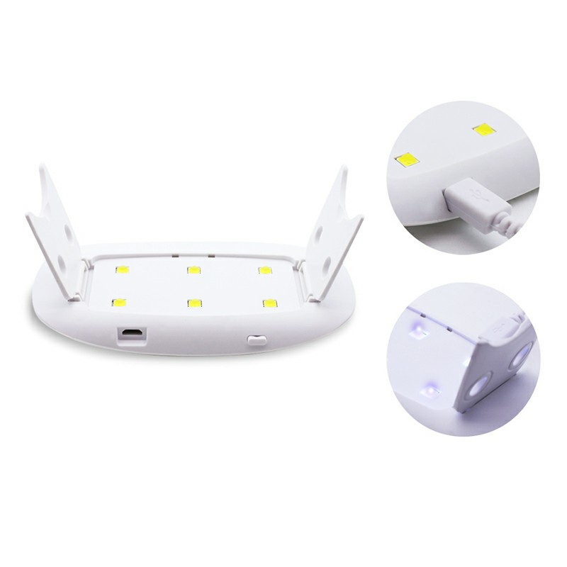 6W Portable Mini USB UV LED 45s/60s Timer Nail Lamp Dryer Nail Lamp Machine - White
