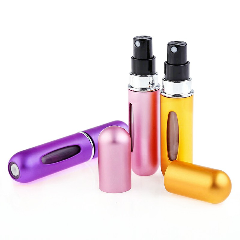 5ml Portable Mini Refillable Perfume Bottle Spray Round Tube Pump Empty Cosmetic Container - Purple