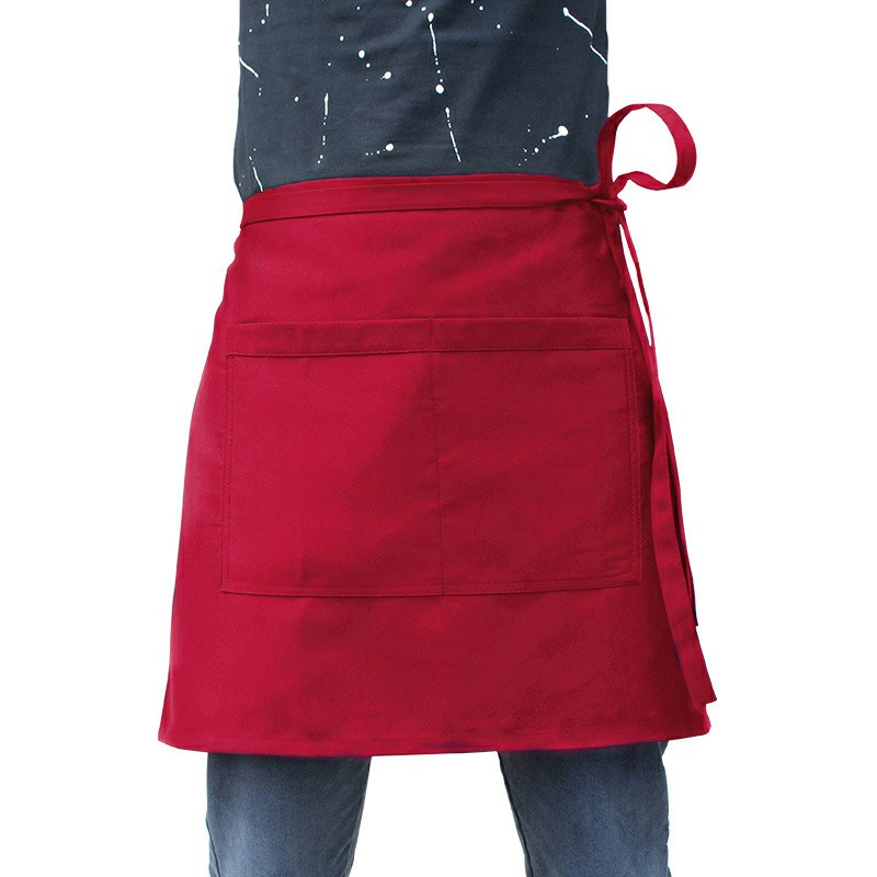 Cooking Short Apron Universal Restaurant Bistro Plain Half Wrist Aprons with Twin Double Pockets - Red