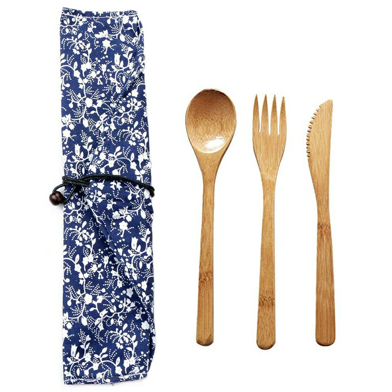 Bamboo Spoon Fork Cutter Set Practical Convenient Eco Friendly Dinnerware Outdoor Tableware Travel Cutlery Flatware