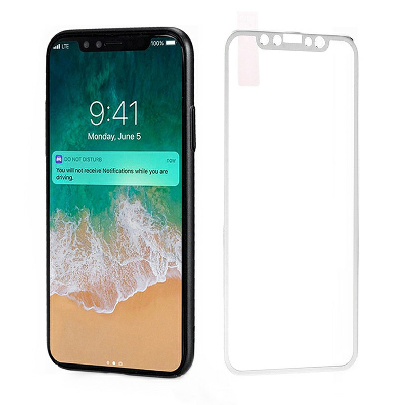 iPhone X/XS/11 Pro 3D Tempered Glass Metal Edge to Edge Screen Protector - Silver