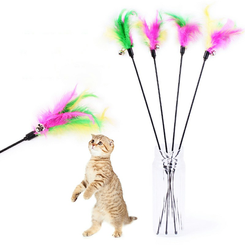 Kitten Cat Toy Colourful Feather Teaser Bell Feather Play Pet Dangler Wand