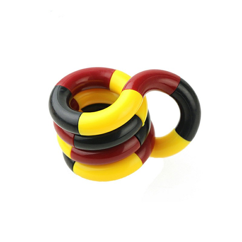 Tangle Fiddle Fidget Toy Anti-Stress ADHD Autism EDC Sensory Fingertoy Gift for Adult Kids - Red + Black + Yellow