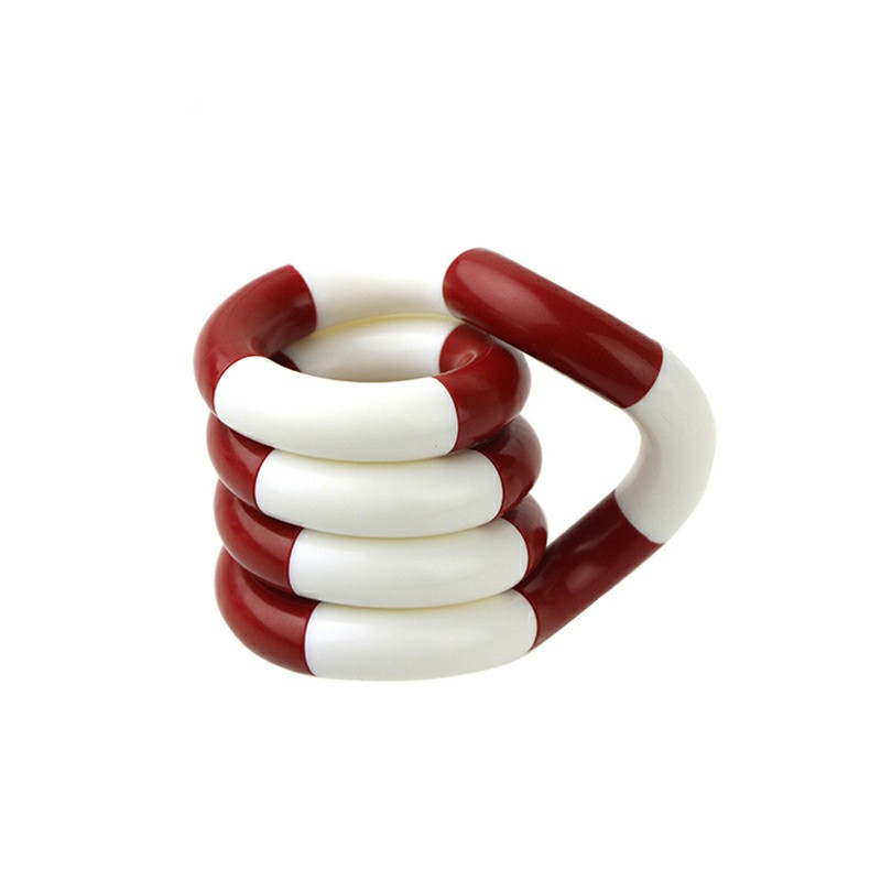 Tangle Fiddle Fidget Toy Anti-Stress ADHD Autism EDC Sensory Fingertoy Gift for Adult Kids - Red + White
