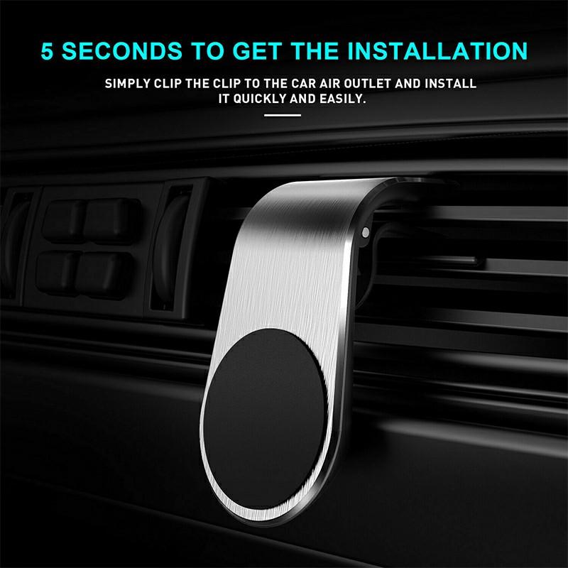 Universal Magnetic Phone Holder Clip Car Air Vent Bracket Suction Socket for Mobile Phones GPS - Silver