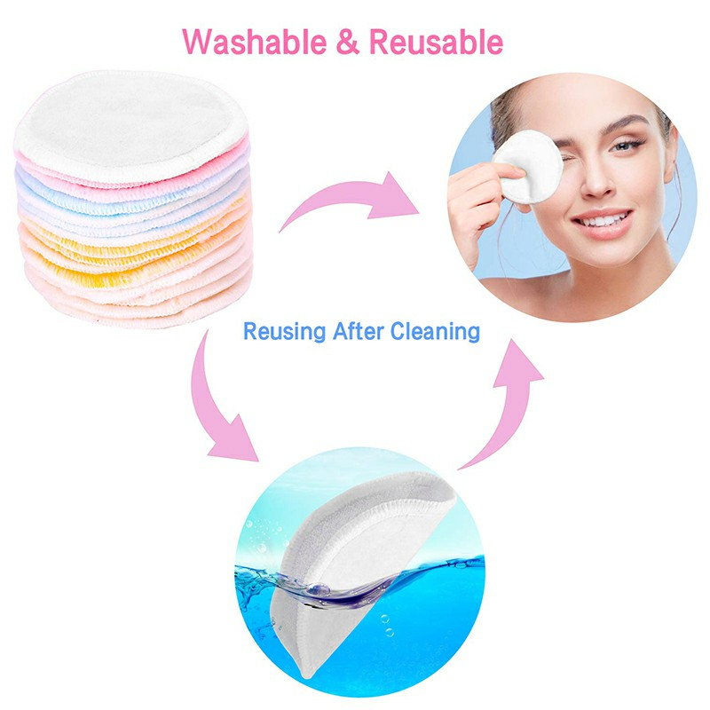Natural Reusable Soft Gentle Makeup Remover Pads Foundation Cleaning Cotton Pad for Sensitive Skin - White