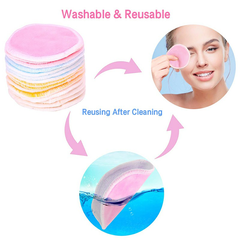 Natural Reusable Soft Gentle Makeup Remover Pads Foundation Cleaning Cotton Pad for Sensitive Skin - Pink