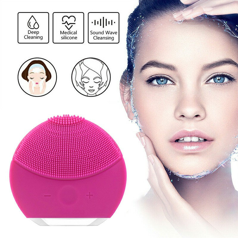 Silicone Electric Face Cleansing Brush Facial Skin Cleaner Cleaning Massager - Hot Pink
