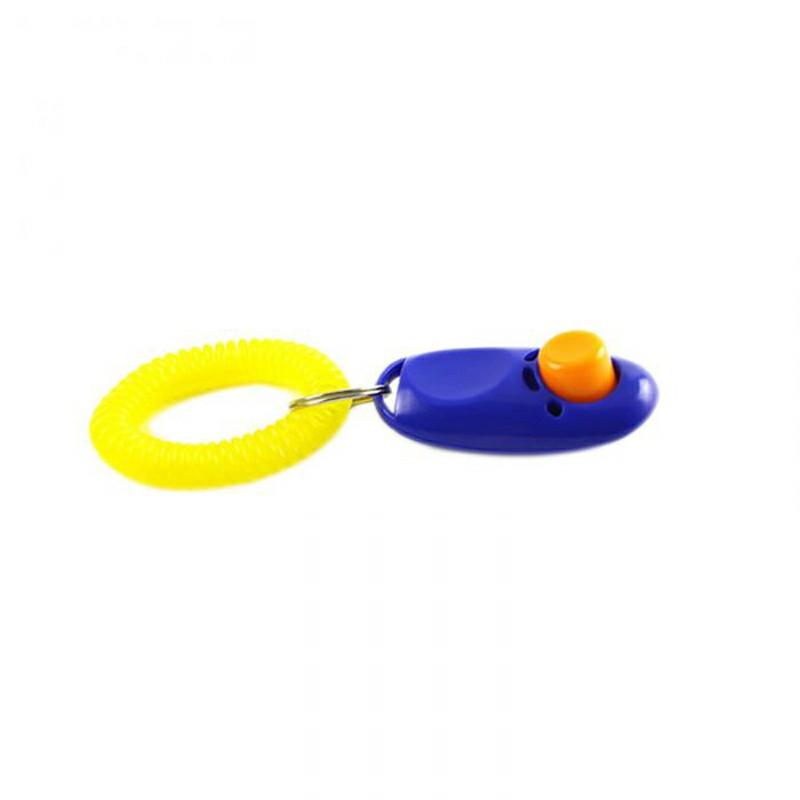 Dog Puppy Pet Clicker Keyring Teaching Tool Obedience Training Keyring Wrist UK - Blue