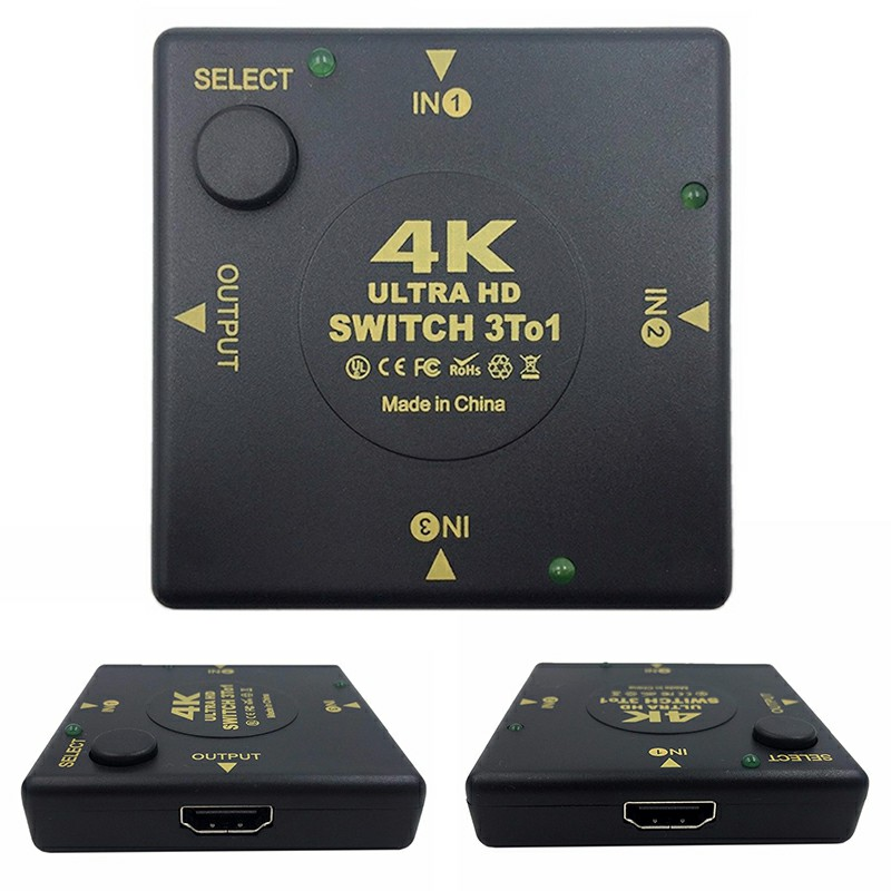3 Port HDMI Switch Splitter 4Kx2K 3D Mini 3 In 1 Out HDMI Switcher - Square