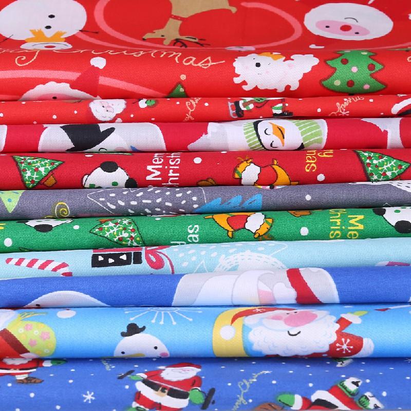 10 pcs Polycotton Fabric Sqauare Bundles Fat Quarters Crafts Christmas Fabric - 50 x 50cm
