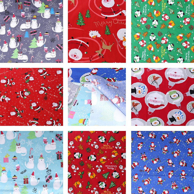 10 pcs Polycotton Fabric Sqauare Bundles Fat Quarters Crafts Christmas Fabric - 25 x 25cm