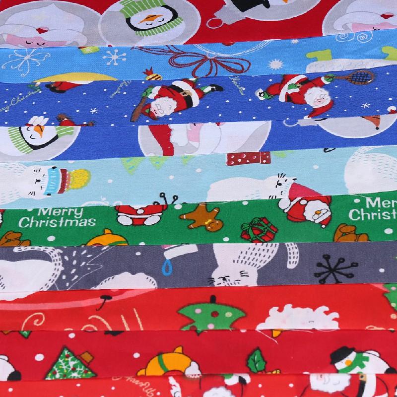 10 pcs Polycotton Fabric Sqauare Bundles Fat Quarters Crafts Christmas Fabric - 25 x 25cm