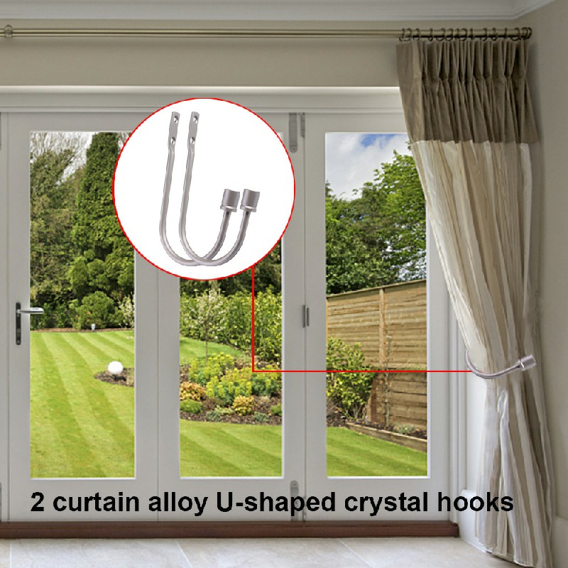 2Pcs Window Curtain Hold Backs Wall Tie Back Hooks Metal U Holdback Holder - Silver