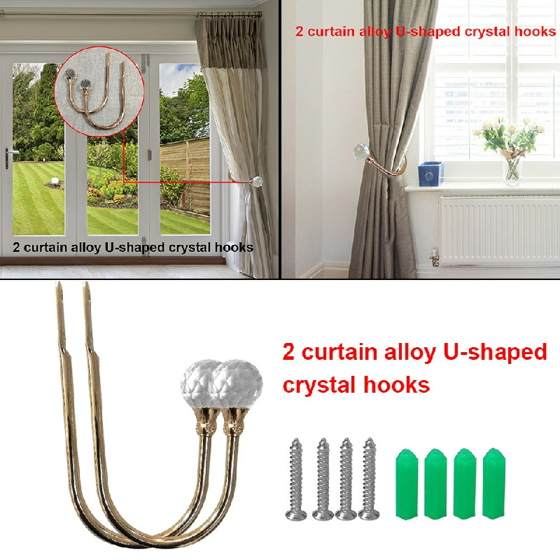 2 pcs Window Curtain Hold Backs Tie Back Hooks Crystal Metal Sliver Holdback Holder