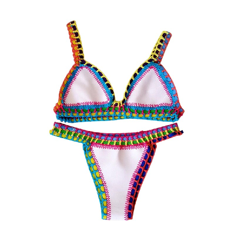 2pcs Womens Bikini Beach Push-up Crochet Bra Swimsuit Bohemia Bathing Suit Size M - White