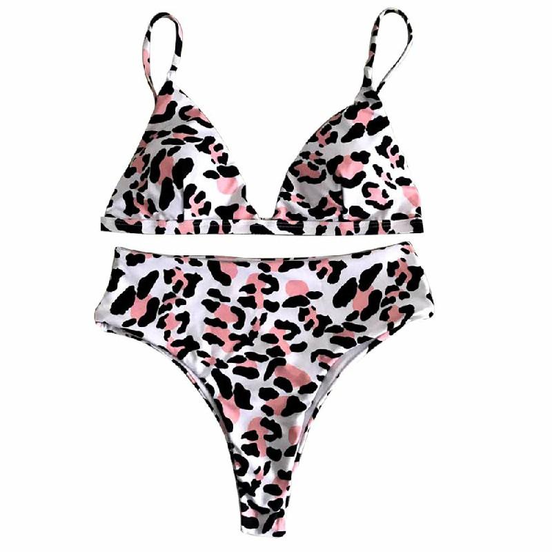 2pcs Set Bikini Push-up Padded Bra Swimsuit Bathing Swimwear Black Leopard - L