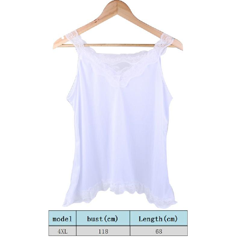 Women Boho Vest Top Cami Shirt Ladies Plus Size Loose Fit White Lace Blouse