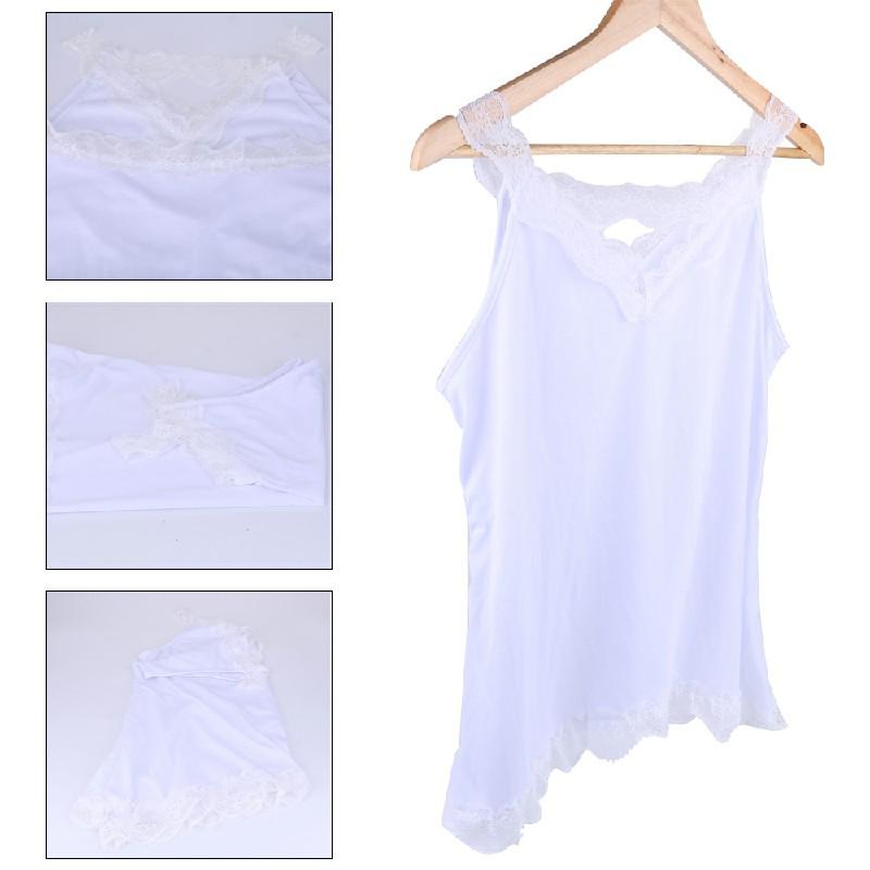 Women Boho Vest Top Cami Shirt Ladies Plus Size Loose Fit White Lace Blouse - 4XL