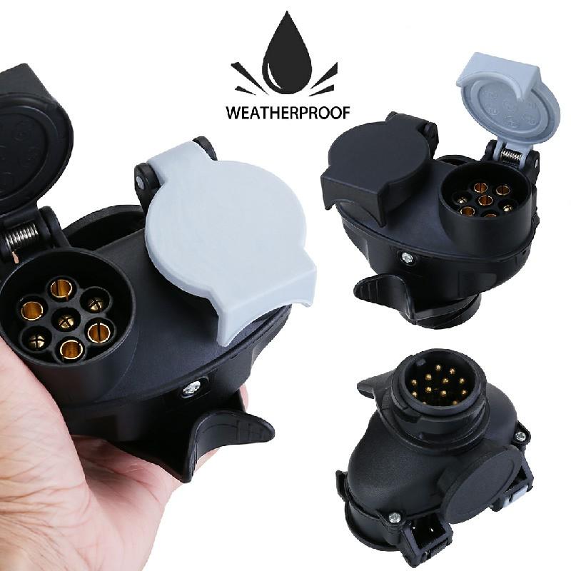 12V 13 Pin to 7 Pin Car to Trailer Conversion Adapter Waterproof Socket Adaptor