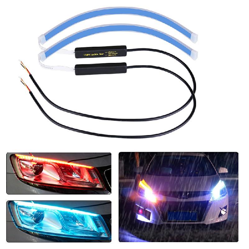 2 pcs LED Strip Turn Signal Switchback Indicator DRL Daytime Running Lights - 60cm
