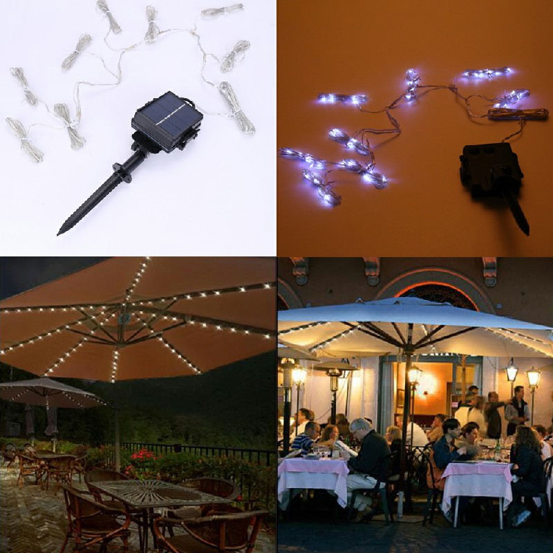 Waterproof Battery Powered Garden Parasol Umbrella Chain 104 Led Lights 8 Strings Fairy Lights - Cool Light