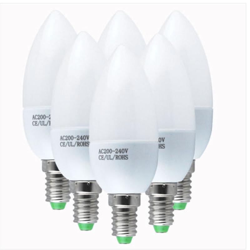 6 pcs E14 220V LED Candle Bulbs SES ES BC SBC Energy Saving Lamps - Day White