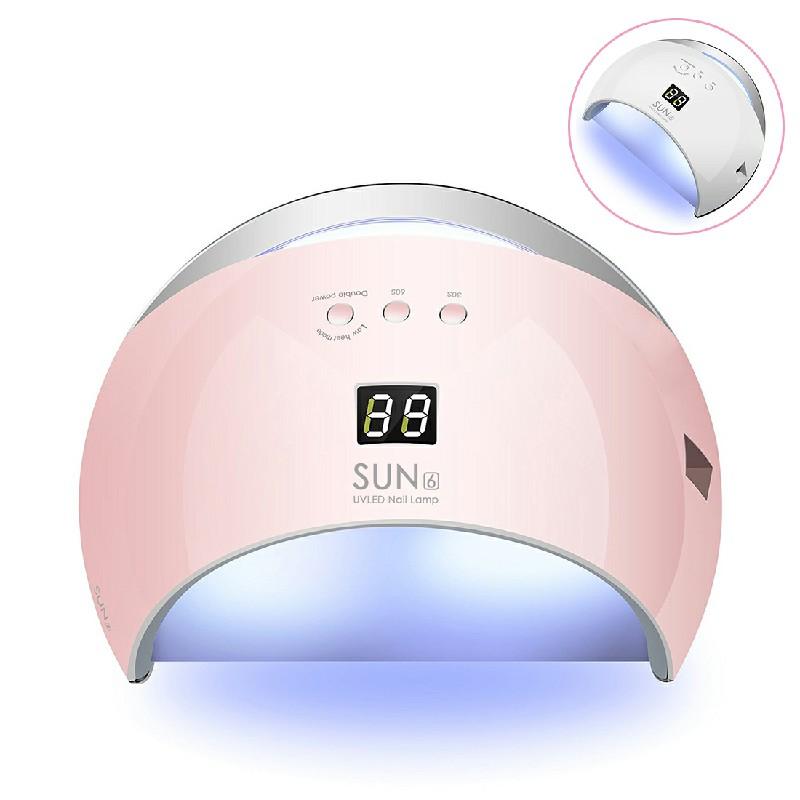 48W SUN6 LED UV Nail Lamp Light Gel Polish Cure Dryer Lamps UK Flag Pro UK - Pink
