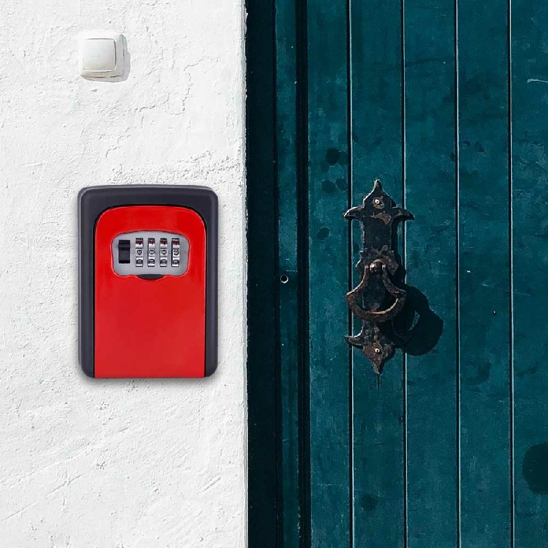 4 Digit Outdoor High Security Wall Mounted Key Safe Box - Red