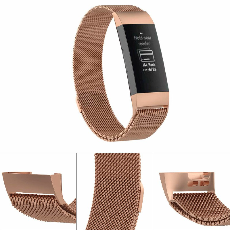 Replacement Milanese Milanis Metal Strap for Fitbit Charge 3 - Rose Gold